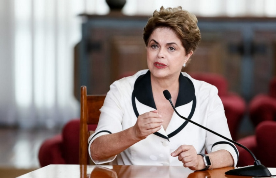 Dilma Rousseff em discurso.