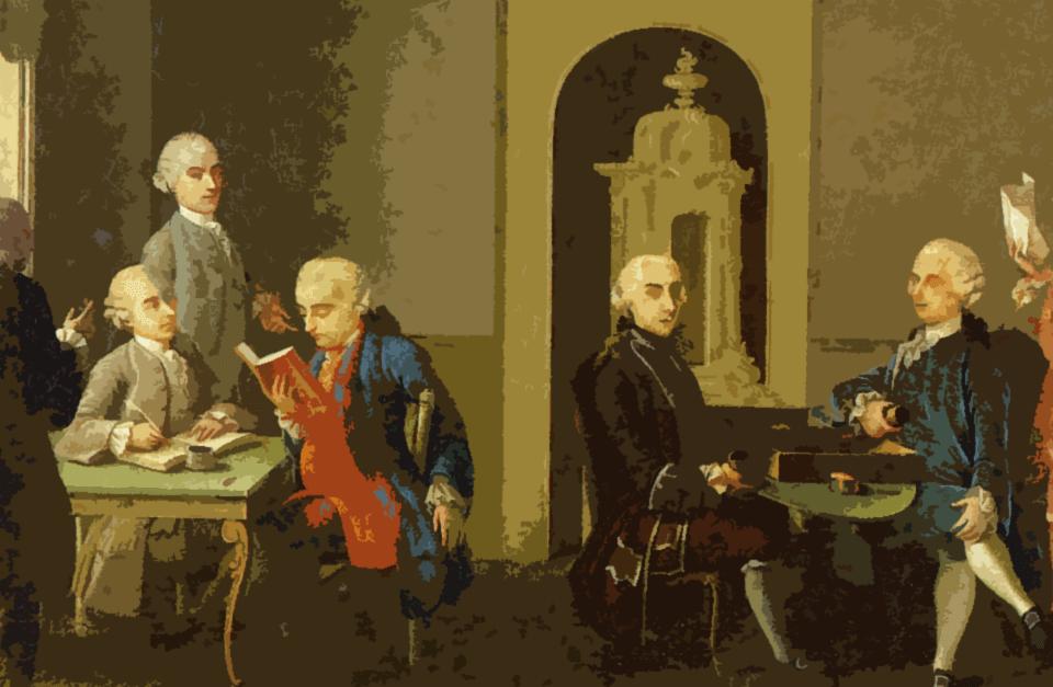 Pintura de europeus unidos em um espaço interno, lendo livros.